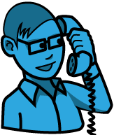 Blue help desk person answering phone icon