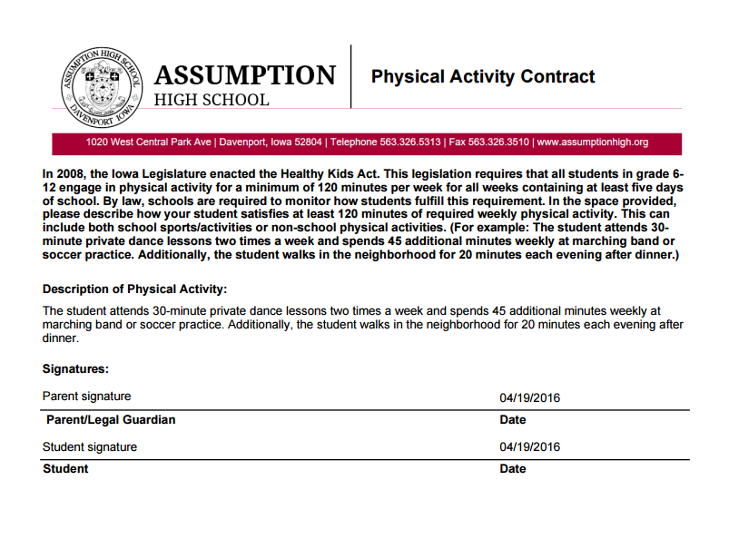 Physical activity contract
