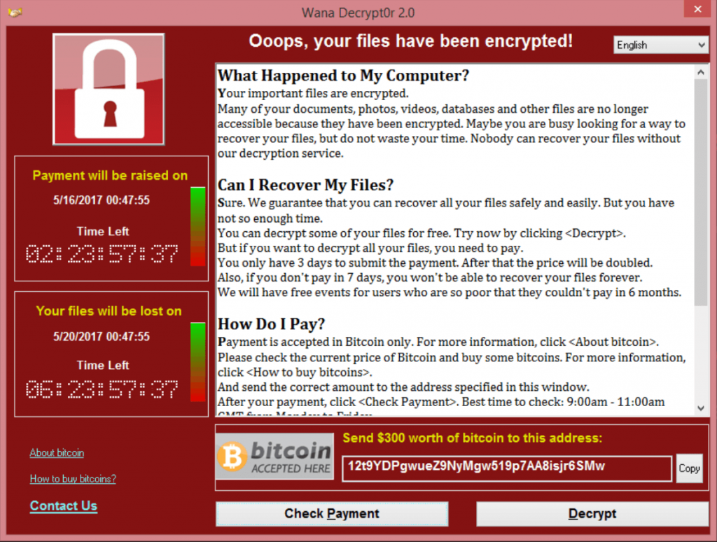Cyber security example showing files being encrypted and held hostage for payment