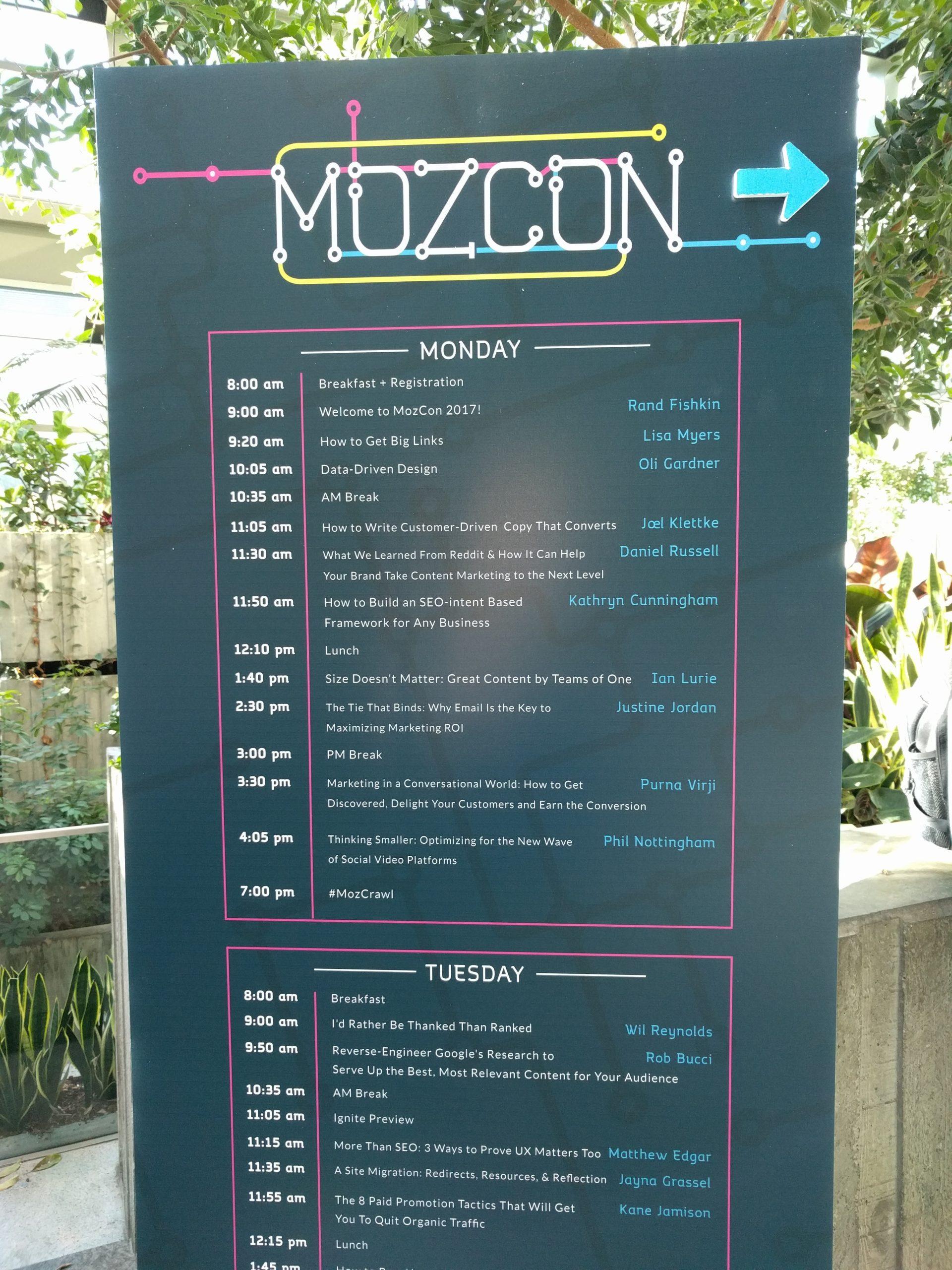 MozCon schedule