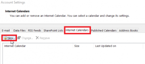 Outlook Internet Calendars