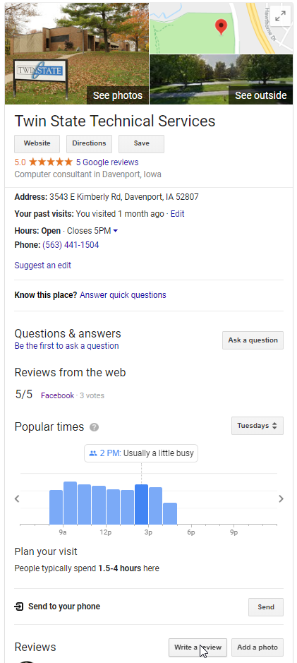 Screenshot of Twin State Google Review