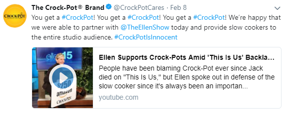 Ellen supports crock | Crock Pot PR marketing plan