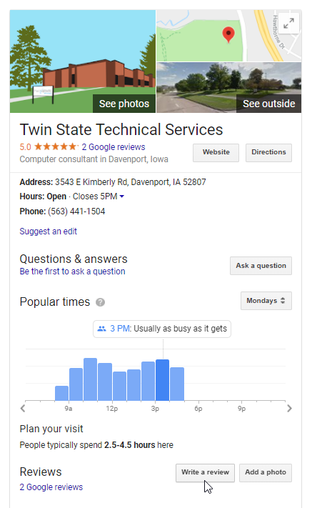 Step 2 in Posting a Google Review: Go to their Business profile on the right hand side