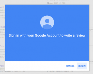 Step 3 in Posting a Google Review: If not logged in it will prompt you to do so