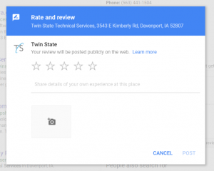 Step 5 in Posting a Google Review: Fill out your review