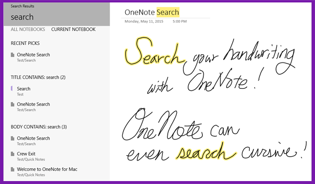 Screenshot of OneNote Search