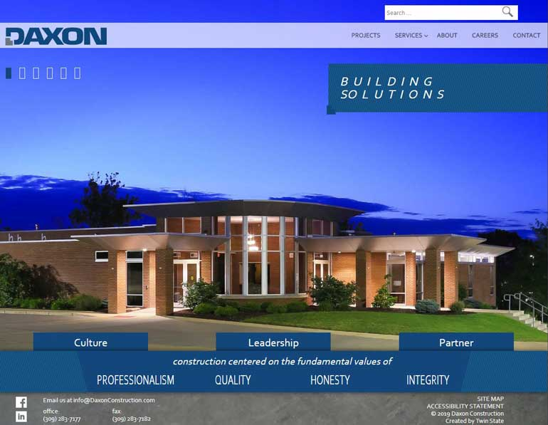 Daxon Construction Desktop View