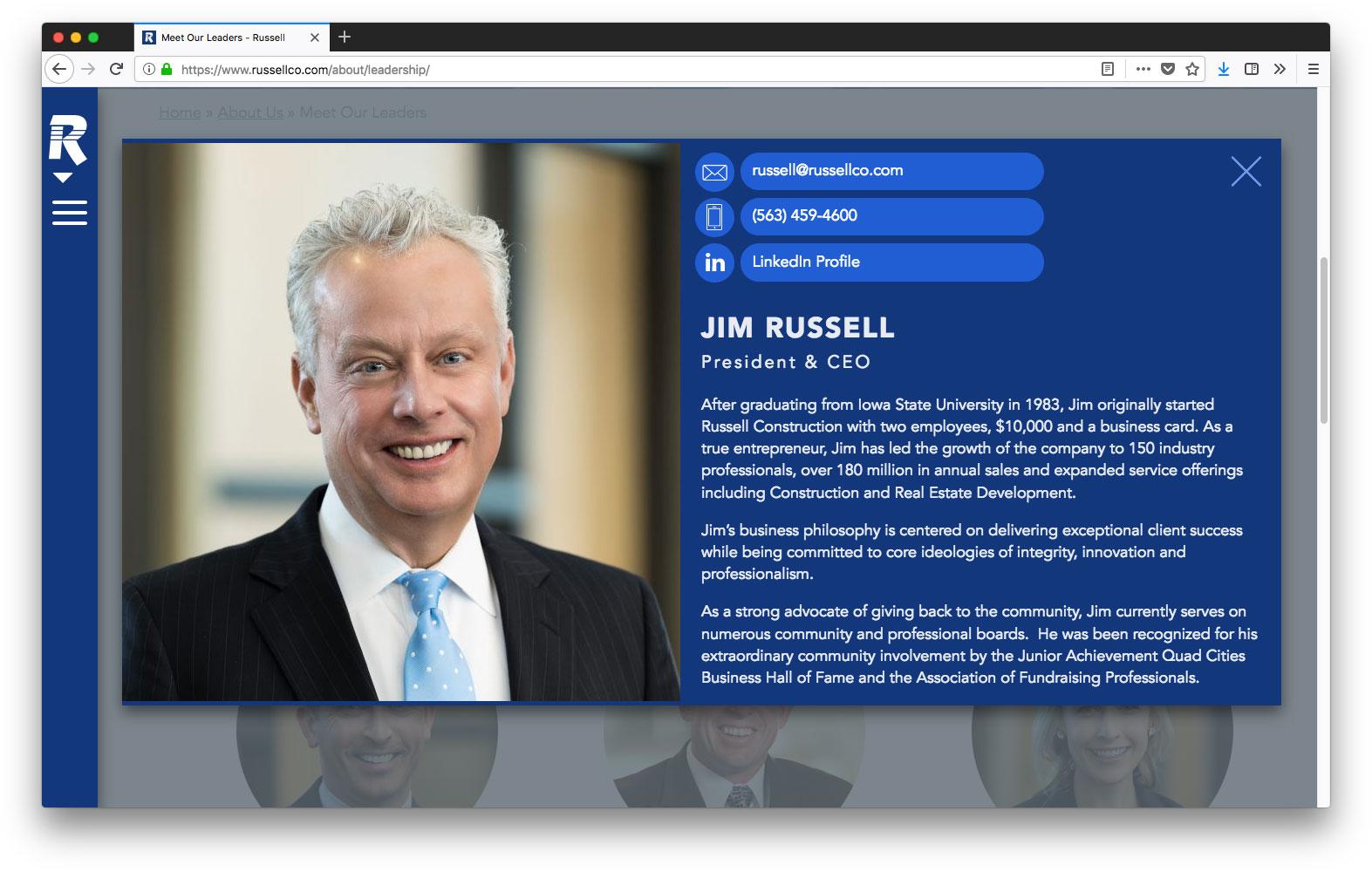 leadership shown on desktop view