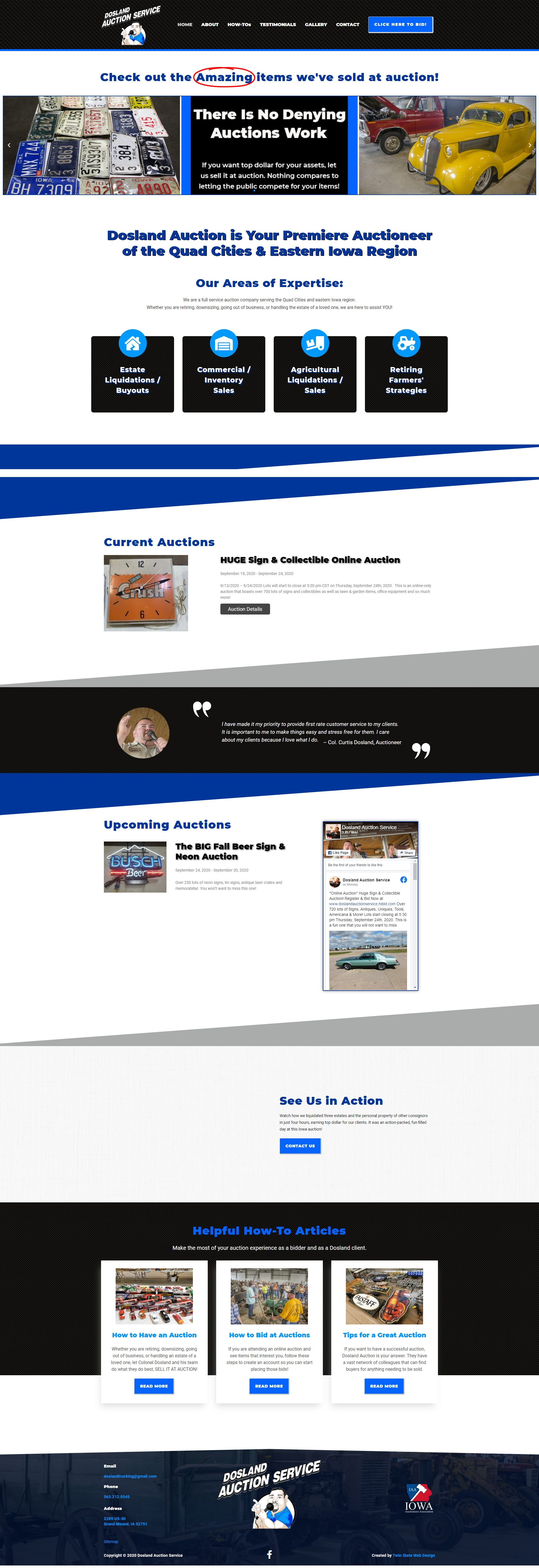 full home page view of Dosland Auction site